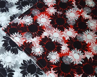 Floral Placemats - Reversible Placemats - Heat Resistant - Red White Black Placemats -  Set of Two - Set of Four - Set of Six