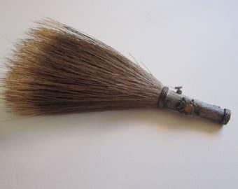 vintage Tyrolean hat pin - boar or deer hair brush pin - Edelweiss flower pin