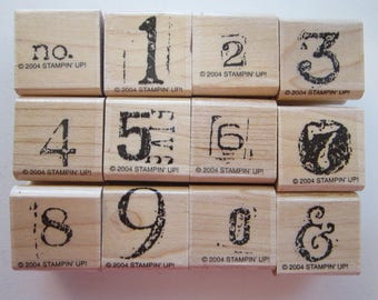 rubber stamps - COLLAGE NUMBERS - Stampin Up 2004 - used rubber stamps