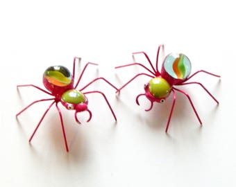 Two 2 Inch Whimsical Small Pink and Green Wire Spiders, Collectible Ornament, Pet Spider, Cute and Lovable, One of a Kind Bug, Gift for Her