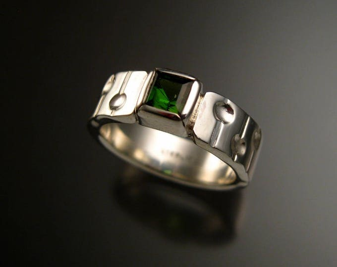 Green Tourmaline Ring Square stone Sterling Silver Emerald Substitute ring Size 7 1/4