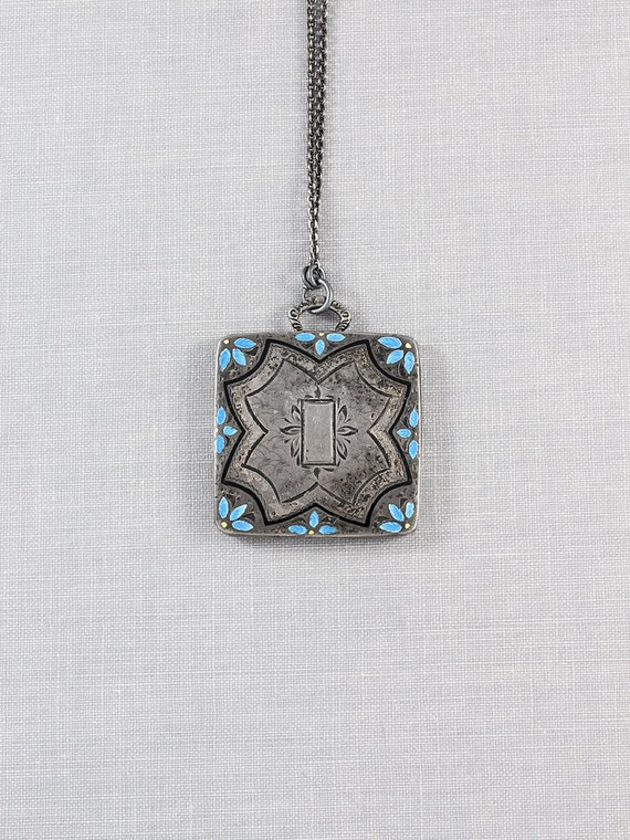 Oxidized Sterling Silver Locket Necklace with Enamel Flower Accents - Blue Daisies