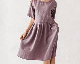 Purple linen dress