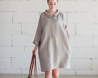 Natural Grey Linen Dress Long Sleeves Linen Coat Maternity Dress