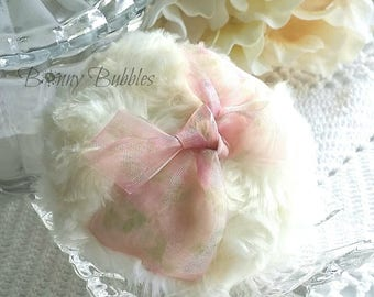 Pink Powder Puff - soft pink and cream powderpuff - organza bath pouf - gift box option - handmade by BonnyBubbles
