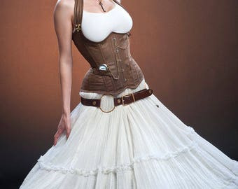 Custom order for DocB ONLY Meschantes Steampunk Distressed Vegan Leather Weskit Corset - Your Size