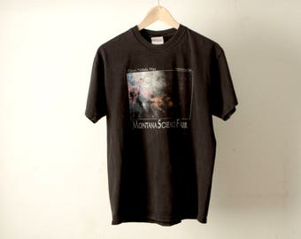 90s black HUBBLE heritage team solar system OUTER space black t-shirt montana science fair t-shirt top