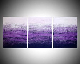"LARGE WALL ART triptych 3 panel wall contemporary art ""Purple Triptych"" canvas original painting abstract canvas wall kunst 3 large sizes"