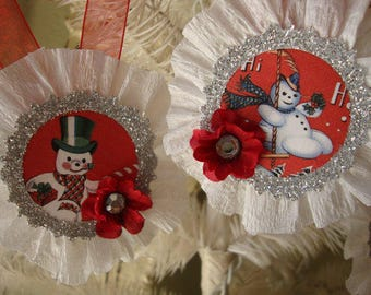 Snowman ornaments tags Red White silver glittered vintage Christmas decor retro cute snowman tags gifts for Christmas glitter ornaments