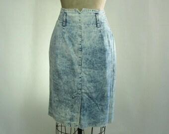 Vintage 80s Grunge Denim Acid Wash High Waisted Slim Skirt Large