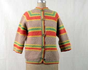 Vintage 1960s Hand Knitted Tan, Orange, Yellow, and Green Large Stripes Cardigan ~ Wooden Buttons ~ Medium