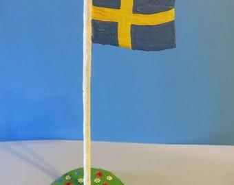 Swedish Table Flag , Papier-Mache'