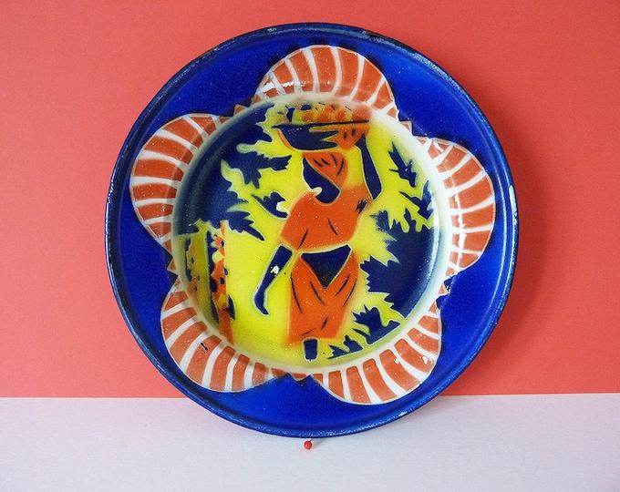 vintage chinese shallow enamel  dish