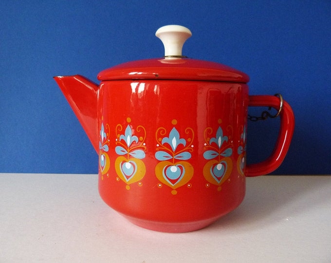 Vintage Red Enamel Teapot Grandmere French