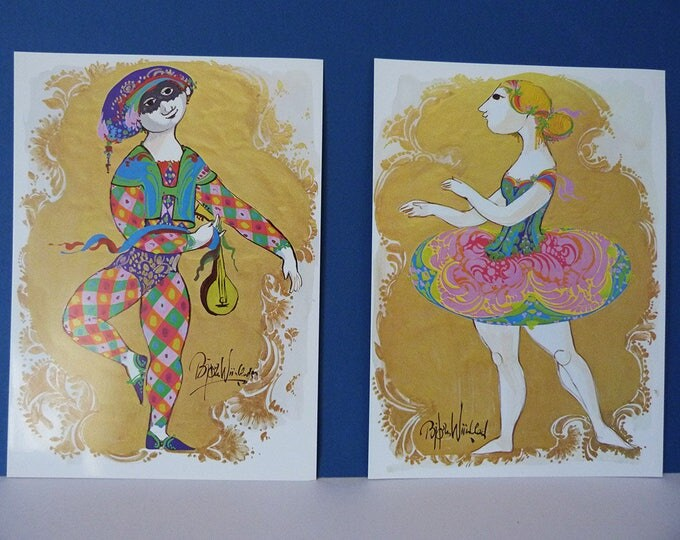 Bjorn Wiinblad XL Postcards Perfect For Framing Jester & Ballet dancer