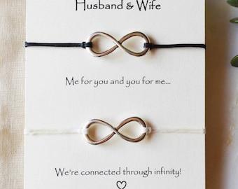 husband and wife infinity bracelets, anniversary bracelets, husband wife wish bracelets girlfriend boyfriend wish bracelets, anniversary set