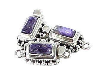 CHAROITE CLASP Granulated Rectangle