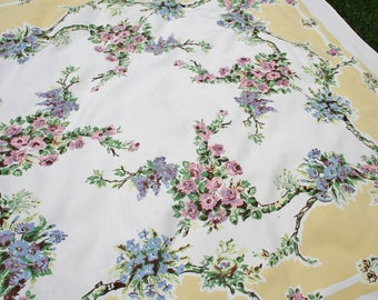 Vintage Yellow Floral Tablecloth Printed Cotton Pink, Blue Flowers