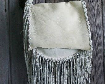 ON SALE Large leather  handbag with hand tied twisted fringe ,  Handmade custom designer handbag