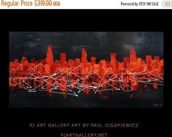 17% OFF /ONE WEEK Only/ Chicago Scape Knife Abstract 24x48 Paul Juszkiewicz black red orange