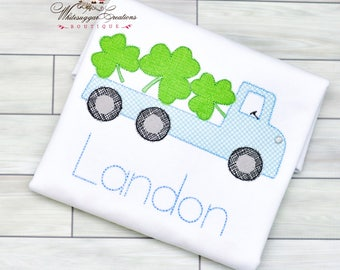 Boy St Patricks Day Shirt - Shamrocks Flatbed Truck Shirt, Baby First St Patricks Day, Monogrammed, Vintage Stitches, Personalized Outfit