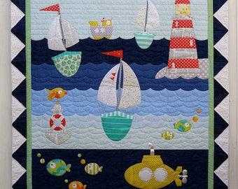 """Ship to Shore Applique Quilt Pattern - Claire Turpin Design - 41"""" x 47"""""""