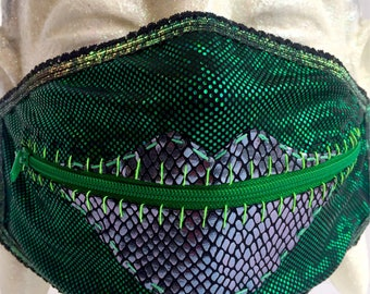 Emerald Glimmer zippermask for wicked witches and swamp queens at Burning Man, EDC, costume adventures