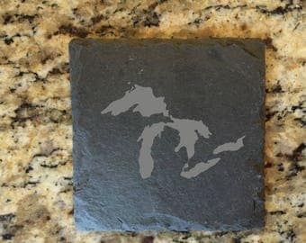 60 Laser Etched Great Lakes Coasters