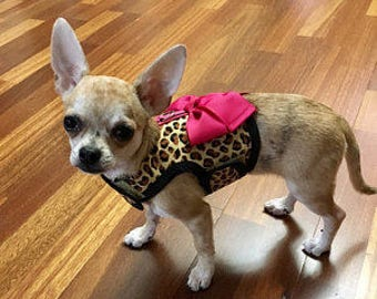 Cotton Leopard Small Dog Harness with Bow Made in USA, dog harnesses, pet clothing