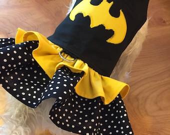 Batman inspired ruffle Small Dog Harness Made in USA, dog harness, dog harnesses