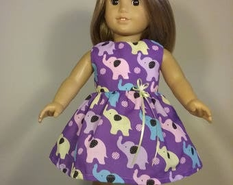 18 inch Doll Clothes Elephant Print Dress will fit like American Girl Doll Clothes