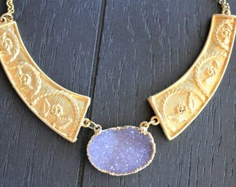 Druzy Necklace Druzy Jewelry Amethyst Necklace Amethyst Jewelry Gold Druzy Necklace Gold Amethyst Necklace Geode Necklace Atlantis Flower
