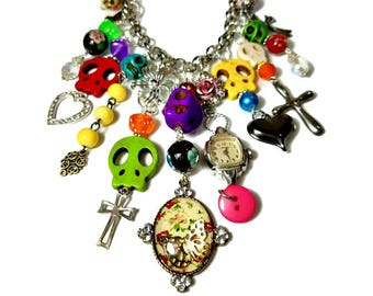 Colorful Sugar Skull Statement Necklace, Day of the Dead Charm Necklace, Dia De Los Muertos Jewelry, Skulls Crosses, Multi Strand