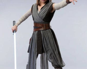 Rey - The Last Jedi -Complete Cosplay - Top - Tunic - Arm Wraps - Pants - Tabard Sash - Obi  - Double Leather Belt, Wrist Guard & Holster