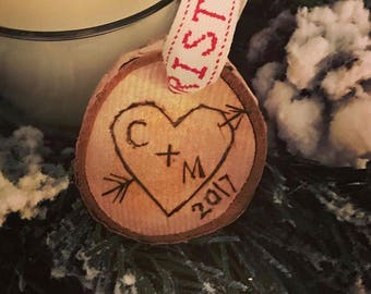 Rustic carved heart personalized wood slice ornament