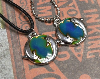 Mood Leather Ball Chain Surfer Necklace, Color Changing Necklace, Hippie Jewelry Dolphins