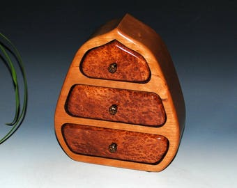 Redwood Burl Accents Cherry on this Three Drawer Small Handmade Wood Pod Style Jewelry Box - Handmade in the USA by BurlWoodBox, Small Box