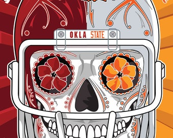 BEDLAM! Oklahoma & Oklahoma State Football Sugar Skull 11x14 print