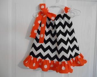 Girls chevron pillowcase dress black and white with ruffle and tie of your choose infant through 7/8 years