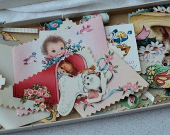 Assorted Vintage Baby and Children's Dennison Seals  and Homemade Gift Tags Made from Vintage Cards