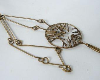 "Vintage Brutalist Modernist Brass Necklace Stick Chain Pendant Mandala Tassel 70's 20"""
