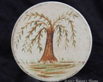 Willow Tree Hand Painted On Small Paper Mache Button Box