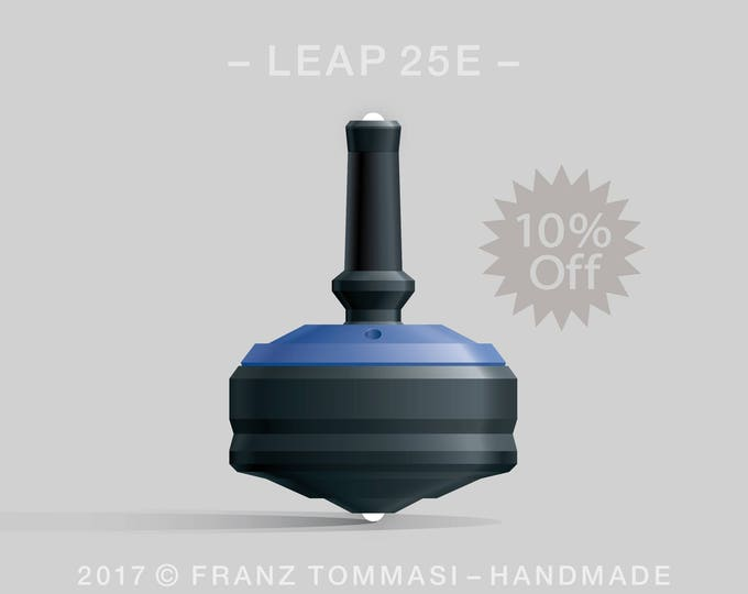 LEAP 25E Blue-on-Black Spin Top with blue cover over black body, ergonomic stem with rubber grip, dual ceramic tip, and 3 accent holes