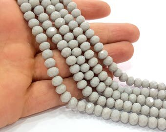 Glass Beads Gray Rondelle Faceted Glass Beads 70 Pcs (8x6 mm) 1 strand approx.  45 cm  ( approx. 17,5 inch) G8557