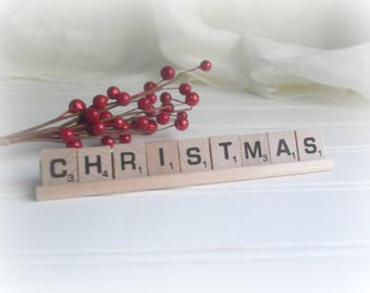 Christmas Sign Christmas Scrabble Letter Sign With Wooden Rack Rustic Farmhouse Decor