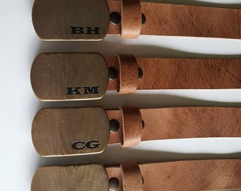 Personalized Buckle & Belt ~ Customized Gift for Groom ~ Groomsmen ~ Monogrammed Buckles with Leather Snap Belt ~ Custom Cut Size ~ Gift Bag