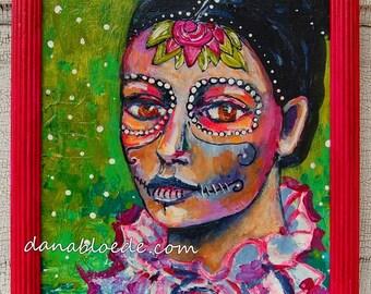 Dia de los Muertos 8x10 original painting with shabby magenta frame