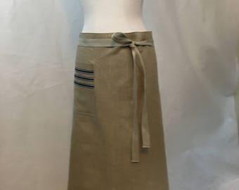 Apron Half European Linen Vintage Blue Stripes Mangle Cloth