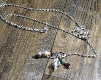 Silver Octopus Lariat Necklace, Mother of Pearl, Freshwater Pearl, Silver Sun Charm, Chain, Glass Beads