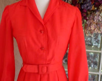Vintage 50s 1950s Red Dress Belt Waist Pleated Skirt Shirt Waist Valentine XS S